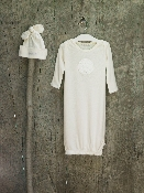 Barefoot Dreams Infant Gown and Hat Cream