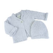 Barefoot Dreams Bamboo Chic Cardigan and Hat Set Blue Small