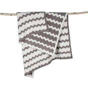 Barefoot Dreams Big Kid Chevron Blanket Warm Gray/Cream