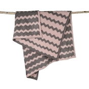 Barefoot Dreams Big Kid Chevron Blanket Warm Gray/Dusty Rose