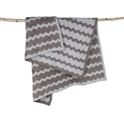 Barefoot Dreams Big Kid Chevron Blanket Warm Gray/Ocean