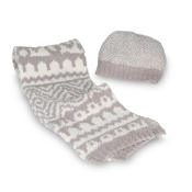 Barefoot Dreams Hat and Scarf Set Linen/Cream