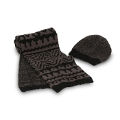 Barefoot Dreams Hat and Scarf Set Midnight/Cocoa