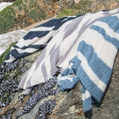 Barefoot Dreams CozyChic Baja Blanket Dove/Cream